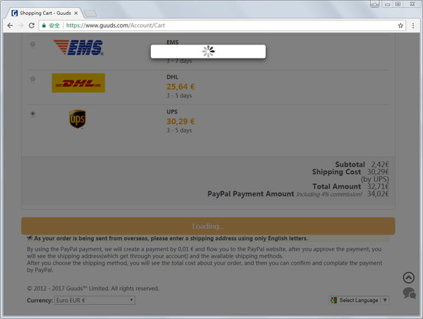 choose shipping method and confirm the paypal payment