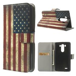 Retro USA Flag Leather Flip Case for LG G3 D850 D855 LS990