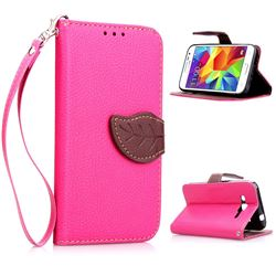 Leaf Buckle Litchi Leather Wallet Phone Case for Samsung Galaxy Core Prime G360 - Rose