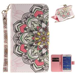 Paper Flowers Hand Strap Leather Wallet Case for Samsung Galaxy Core Prime G360