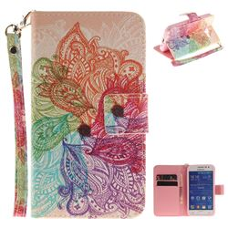 Magic Flower Hand Strap Leather Wallet Case for Samsung Galaxy Core Prime G360