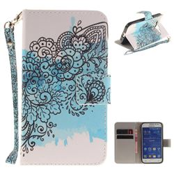Butterfly Flowers Hand Strap Leather Wallet Case for Samsung Galaxy Core Prime G360