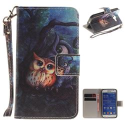 Oil Painting Owl Hand Strap Leather Wallet Case for Samsung Galaxy Core Prime G360