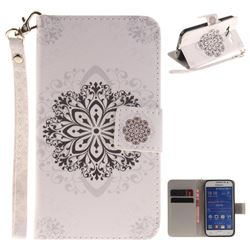 Datura Flowers Hand Strap Leather Wallet Case for Samsung Galaxy Core Prime G360