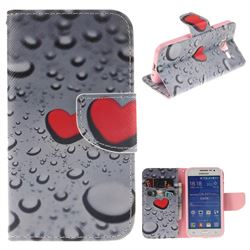 Heart Raindrop PU Leather Wallet Case for Samsung Galaxy Core Prime G360