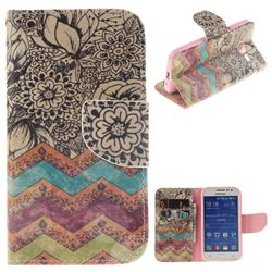 Wave Flower PU Leather Wallet Case for Samsung Galaxy Core Prime G360