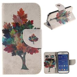 Colored Tree PU Leather Wallet Case for Samsung Galaxy Core Prime G360