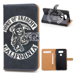 Black Skull Leather Wallet Case for LG G5