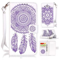 Embossing Campanula Flower Leather Wallet Case for Samsung Galaxy Grand Prime G530 - White Purple