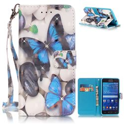 Blue Butterflies 3D Painted Leather Wallet Case for Samsung Galaxy Grand Prime G530