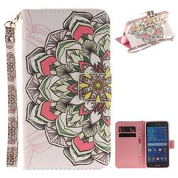 Paper Flowers Hand Strap Leather Wallet Case for Samsung Galaxy Grand Prime G530