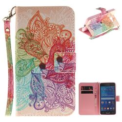 Magic Flower Hand Strap Leather Wallet Case for Samsung Galaxy Grand Prime G530