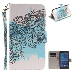 Butterfly Flowers Hand Strap Leather Wallet Case for Samsung Galaxy Grand Prime G530