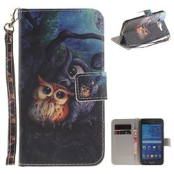 Oil Painting Owl Hand Strap Leather Wallet Case for Samsung Galaxy Grand Prime G530