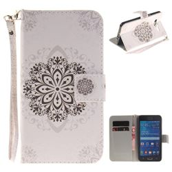 Datura Flowers Hand Strap Leather Wallet Case for Samsung Galaxy Grand Prime G530