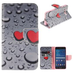 Heart Raindrop PU Leather Wallet Case for Samsung Galaxy Grand Prime G530