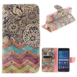 Wave Flower PU Leather Wallet Case for Samsung Galaxy Grand Prime G530