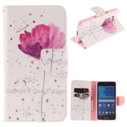 Purple Orchid PU Leather Wallet Case for Samsung Galaxy Grand Prime G530