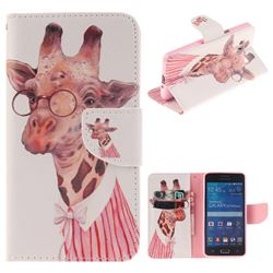 Pink Giraffe PU Leather Wallet Case for Samsung Galaxy Grand Prime G530