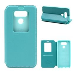 Roar Korea Noble View Leather Flip Cover for LG G6 - Cyan