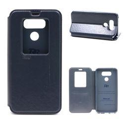 Roar Korea Noble View Leather Flip Cover for LG G6 - Dark Blue
