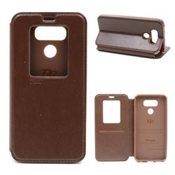 Roar Korea Noble View Leather Flip Cover for LG G6 - Brown