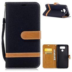Retro Jeans Cowboy Denim Leather Wallet Case for LG G6 - Black