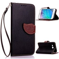 Leaf Buckle Litchi Leather Wallet Phone Case for Samsung Galaxy J1 J100 - Black