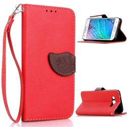 Leaf Buckle Litchi Leather Wallet Phone Case for Samsung Galaxy J1 J100 - Red