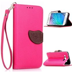 Leaf Buckle Litchi Leather Wallet Phone Case for Samsung Galaxy J1 J100 - Rose