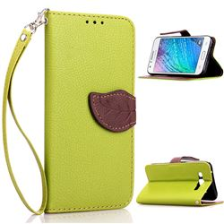 Leaf Buckle Litchi Leather Wallet Phone Case for Samsung Galaxy J1 J100 - Green