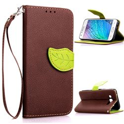 Leaf Buckle Litchi Leather Wallet Phone Case for Samsung Galaxy J1 J100 - Brown