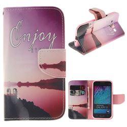 Seaside Scenery PU Leather Wallet Case for Samsung Galaxy J1 2015 J100