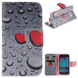 Heart Raindrop PU Leather Wallet Case for Samsung Galaxy J1 2015 J100