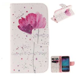 Purple Orchid PU Leather Wallet Case for Samsung Galaxy J1 2015 J100