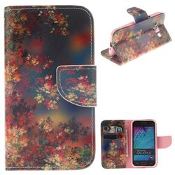 Colored Flowers PU Leather Wallet Case for Samsung Galaxy J1 2015 J100