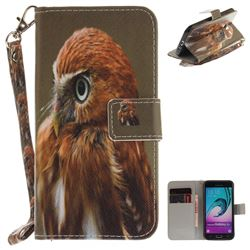 Young Eagle Hand Strap Leather Wallet Case for Samsung Galaxy J3 2016 J320