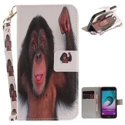 Cute Monkey Hand Strap Leather Wallet Case for Samsung Galaxy J3 2016 J320