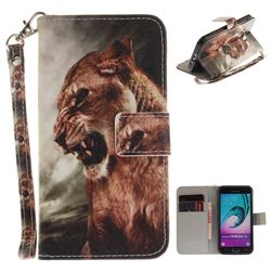 Majestic Lion Hand Strap Leather Wallet Case for Samsung Galaxy J3 2016 J320