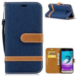 Jeans Cowboy Denim Leather Wallet Case for Samsung Galaxy J3 2016 J320 - Dark Blue