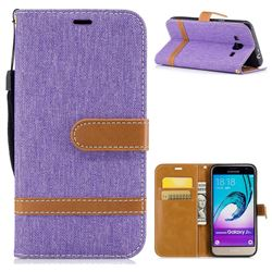 Jeans Cowboy Denim Leather Wallet Case for Samsung Galaxy J3 2016 J320 - Purple