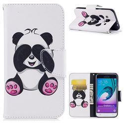 Lovely Panda Leather Wallet Case for Samsung Galaxy J3 2016 J320