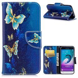 Golden Butterflies Leather Wallet Case for Samsung Galaxy J3 2016 J320