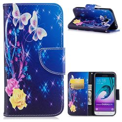 Yellow Flower Butterfly Leather Wallet Case for Samsung Galaxy J3 2016 J320