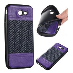 Weave Leather Coated Dual-Color Soft TPU Back Cover for Samsung Galaxy J3 2017 J330 - Purple + Sapphire