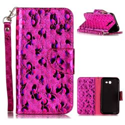 Luxury Laser Butterfly Optical Maser Leather Wallet Case for Samsung Galaxy J3 2017 J330 - Rose