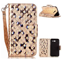 Luxury Laser Butterfly Optical Maser Leather Wallet Case for Samsung Galaxy J3 2017 J330 - Golden