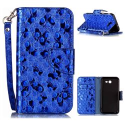 Luxury Laser Butterfly Optical Maser Leather Wallet Case for Samsung Galaxy J3 2017 J330 - Blue