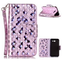 Luxury Laser Butterfly Optical Maser Leather Wallet Case for Samsung Galaxy J3 2017 J330 - Purple