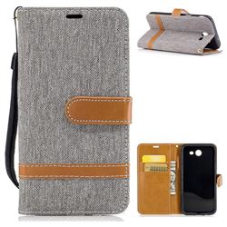 Jeans Cowboy Denim Leather Wallet Case for Samsung Galaxy J3 2017 J330 - Gray